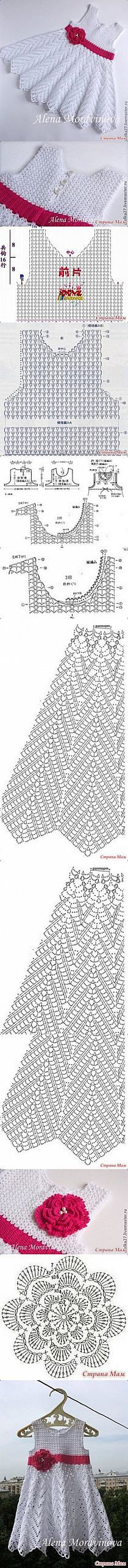 "z ""pl - Odkrywaj, kolekcjonuj, inspiruj /diagram pattern / this is so cute!"", ""Diagram for pretty baby dress."", ""Discover thousands of images about J Crochet Baby Clothes, Crochet Girls, Crochet For Kids, Baby Patterns, Dress Patterns, Knitting Patterns, Crochet Patterns, Crochet Poncho, Crochet Lace"