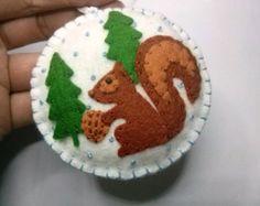 Squirrel Ornament Black Squirrel Felt Animal Ornament Handmade