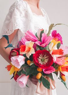 This bright and fun paper wedding bouquet is perfect for a spring, Cinco de Mayo-inspired fest! Save it and place it in a vase to keep for years to come. Paper Flowers Craft, Crepe Paper Flowers, Flower Crafts, Diy Flowers, Pretty Flowers, Paper Crafts, Paper Paper, Colourful Wedding Flowers, Paper Peonies