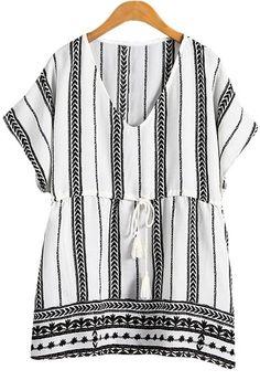 Ethnic Print V Neck Short Sleeve Blouse
