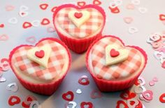 Valentine's Day Cupcake recipe -Show someone you care this Valentine's Day by making these romantic heart cupcakes. Victoria Threader's exclusive recipe comes with a cute gingham cake topper