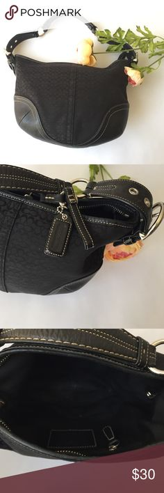 "Black Coach Handbag Well loved Coach handbag with signature black C fabric. No dust bag. Fading on interior lining as pictured. Dimensions: Length 11"", Height 9"" Coach Bags Shoulder Bags"