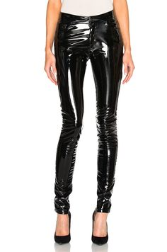Image 1 of Anthony Vaccarello Slim Vinyl Pants in Black