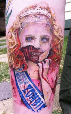 Little Miss Zombie by David Corden #pageant #princess #zombie #InkedMagazine #tattoo #tattoos #inked #ink #horror