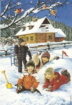 Let It Snow! Winter Art, Winter Time, Winter Holidays, Winter Christmas, Christmas Time, Snow Scenes, Winter Scenes, Illustrations, Children's Book Illustration