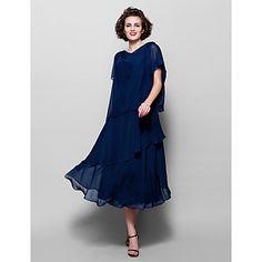 Lanting+Bride®+Γραμμή+Α+Μεγάλα+Μεγέθη+/+Μικρά+Νούμερα+Φόρεμα+Μητέρας+της+Νύφης+Κάτω+από+το+γόνατο+Κοντό+Μανίκι+Σιφόν+-+Διακοσμητικά+–+EUR+€+88.19