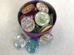 The Middle School Counselor: Icebreakers. Clear stones (buy at Hobby Lobby, Jo-Ann's, Michaels) with question on it. Student answers the stone they picked. Great ice breaker for week! Counseling Office, Group Counseling, Counseling Activities, Therapy Activities, Therapy Ideas, Therapy Tools, Group Activities, Counseling Teens, Counseling Worksheets