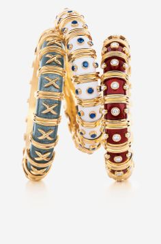 Tiffany & Co. Schlumberger® paillonné enamel bracelets in gold. Fall Accessories, Jewelry Accessories, Fashion Accessories, Jewelry Design, Enamel Jewelry, Gold Jewelry, Unique Jewelry, Jewellery, Prom Jewelry