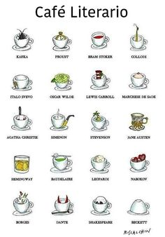 Food illustrator Gianluca Biscalchin has combined two of our loves - coffee and books - into one fun illustration. Called Literary Coffee, it shows famous authors like Bram Stroker, Jane Austen, and. I Love Books, Good Books, My Books, Jane Austen, Coffee Poster, Coffee Pictures, Non Fiction, Coffee And Books, Coffee Reading