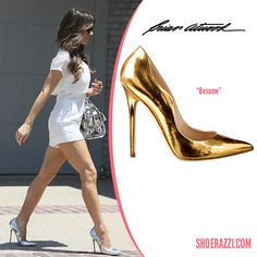 Kate Beckinsale in Brian Atwood Besame Mirrored Silver Pumps - ShoeRazzi