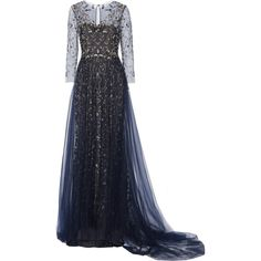 Embellished tulle gown (7.880 BRL) ❤ liked on Polyvore featuring dresses, gowns, long dresses, vestidos, blue, white ball gowns, white tulle dress, marchesa gowns and long tulle dress