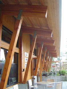Glued-laminated timber is more solid wood beams than steel Timber Window Frames, Timber Windows, Wood Columns, Wood Beams, Steel Beams, Timber Architecture, Architecture Details, Mountain Home Exterior, Rustic Exterior