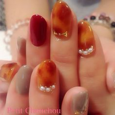 ネイル Gel Nail Art, Nail Art Diy, Diy Nails, Manicure, Nail Polish, Nail Nail, Autumn Nails, Winter Nails, Love Nails