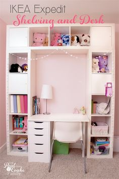 Genius shelving unit and desk using an IKEA Expedit. Perfect storage solution for a child Genius shelving unit & desk using an IKEA Expedit (now called IKEA Kallax). Perfect storage solution for child's room, entertainment center, or home office. Ikea Expedit, Ikea Desk, Diy Desk, Expedit Regal, Ikea Office, Office Spaces, Work Spaces, Ikea Regal, Diy Regal