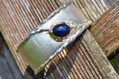 bracelet silver gold blue sapphire rustic design by AtelierRitz