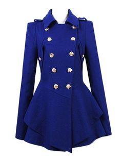 Fashion Turn-down Collar Cute-cut Double-breasted Woolen Coat
