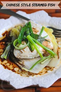 Chinese Steamed Fish with Soy Sesame Sauce Recipe - there's a quick video - just click on the photo for this easy healthy recipe - works on just about any kind of fish