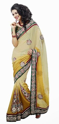 $127.77 Yellow Emboidered Faux Georgette Saree 24694