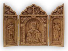 Carved-Triptych-Saint-Nicholas-Michael-Gabriel-Archangels-Medium