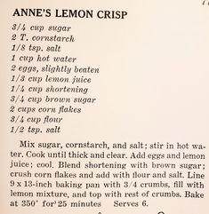 Lemon Dessert Recipes, Corn Flakes, Corn Starch, Brown Sugar, Canes Sauce