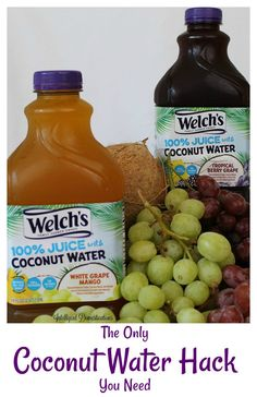 Welch's juice with coconut water. Tropical Berry Grape Juice White Grape Mango with Coconut water. Your new way to drink delicious coconut water. Juice with coconut water. Coconut Water Recipes, Coconut Water Benefits, Coconut Oil Uses, Coconut Oil For Skin, Best Smoothie Recipes, Weight Loss Water, Christmas Breakfast, Crockpot Recipes