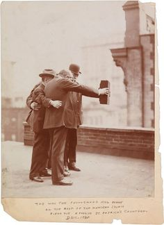 This shot of five photographers (remember when that was a profession that only a few could enter?) on a New York City rooftop in 1920 might be the earliest instance we have of what would be considered a modern selfie. Self-referential meta-photography was born with the selfie itself, apparently, as there's also a shot of the photo being made: