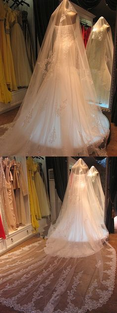 2014 New Free Shipping High Quality White Ivory Gorgeous Beaded One Layer Lace Edge Long Wedding Veil Bridal Accessories A005