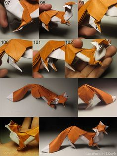 Foxes from 1 uncut square each model - DIY/Crafting - Origami Origami 3d, Origami Design, Dragon Origami, Origami Simple, Origami Star Box, Paper Crafts Origami, Paper Crafting, Origami Hearts, Dollar Origami