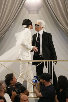 Kendall Jenner and Karl Lagerfeld at Chanel Fall 2015 Couture show - July 7, 2015