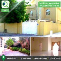 Villa for rent in Qatar: Luxurious 4 Bedrooms Standalone Semi Furnished Villa in New Salata at QAR 14,000/-