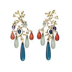 Gipsy øreringe i 18kt rødguld med blandede sten og brillanter TW.VS | OLE LYNGGAARD COPENHAGEN