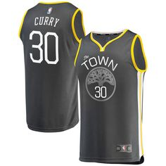Men's Golden State Warriors Stephen Curry Fanatics Branded Charcoal Fast Break Replica Jersey - Statement Edition