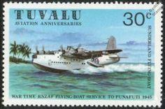 Rnzaf Short Sunderland S 25 Flying Boat Seaplane Aircraft Stamp 1980 Tuvalu | eBay