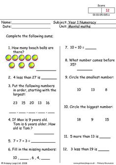 One of our year one mental maths worksheets. The child should answer all twelve questions as fast as they can. Mental Maths Worksheets, Math Practice Worksheets, First Grade Math Worksheets, English Worksheets For Kids, 1st Grade Math, Grammar Worksheets, Grade 1, Class 1 Maths, Math Test
