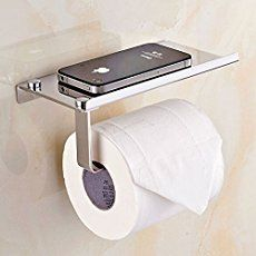 Bosszi Wall Mount Toilet Paper Holder, Stainless Steel Bathroom Tissue Holder with Mobile Phone Storage Shelf Brushed Aluminum: Home & Kitchen Wc Bathroom, Bathroom Toilets, Small Bathroom, Bathroom Ideas, Small Bathtub, Budget Bathroom, Bathroom Interior, Shower Ideas, Bathroom Toilet Paper Holders