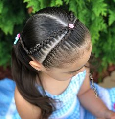 Crossed over Dutch lace braids 🌸🌸 _____________________________________________________________ Trenzas cruzadas y Coletas 🌸🌸 _____________________________________________________________ Lil Girl Hairstyles, Girls Hairdos, Girls Natural Hairstyles, Princess Hairstyles, Girls Braids, Pretty Hairstyles, Braided Hairstyles, Natural Hair Styles, Long Hair Styles