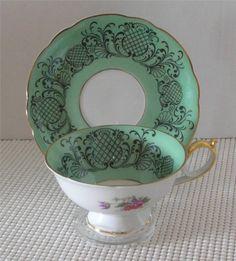 ROYAL BAYREUTH China FOOTED TEA CUP & SAUCER Black on Green Band Bavaria Germany