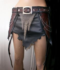 Dragon warrior black leather and chainmail skirt / armor hip piece with a belt unisex