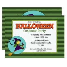 #Little Witch Halloween Costume Party Card - #halloween #invitation #cards #party #parties #invitations #card