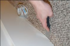 """how to paint baseboards on carpet - use package tape & put beneath baseboard with putty knife. use putty knife after painting to break """"seal"""" of paint on tape & then rip up old package tape."""