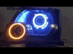Nissan Xterra Headlight Retrofit Quad Bi Xenon HID Projectors LED Angel Eyes and turn signals - YouTube