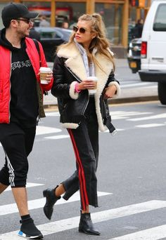 Irish fashion model Stella Maxwell is seen looking chic in a black leather and fur jacket as she steps out to grab coffee in New York City, New York on November 14, 2016.
