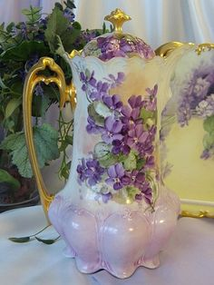 "Exquisite & Stunning ""AMETHYST VIOLETS"" 1900's Hand Painted MZ Austria CHOCOLATE COCOA POT Antique Chocoliatiere HAND PAINTED Beautiful Rococo Heavy Gold Fine Austrian Vintage Heirloom China Painting"