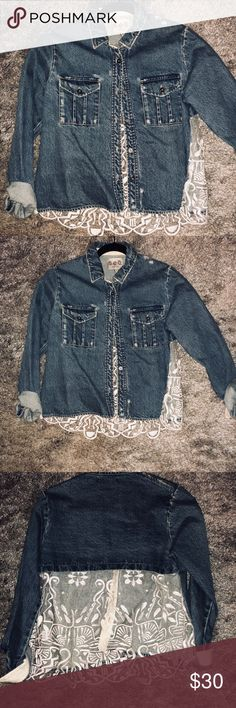 SEA denim sheer back shirt/jacket Can double as both. Lace detail in back Sea Tops
