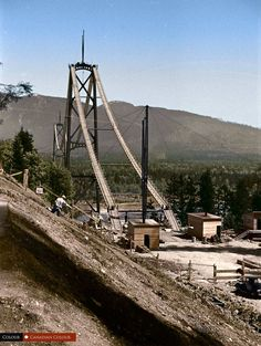 Lion's Gate Bridge under construction Vancouver, BC Canada Canadian Colour ( Vancouver, West Coast Canada, Canadian History, Local History, Canadian Soldiers, Lions Gate, Old Photos, Vintage Photos, Construction