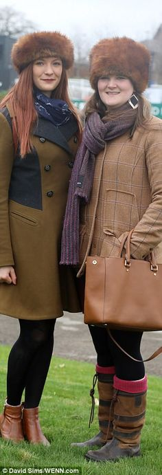 Wrapped up warm! Two friends eschewed lacy dresses and went for the country casuals look...