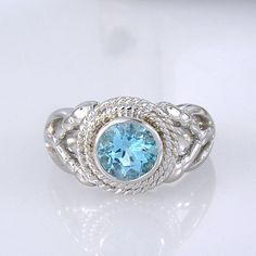 Blue Topaz 925 Sterling Silver ring Old Navy Style - Handmade and one of a kind - Size 8US by ChadaSoph on Etsy