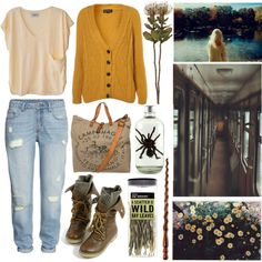 Or Perhaps, Hufflepuff? by ari-for-short on Polyvore featuring Humanoid, H&M, Campomaggi and Crate and Barrel
