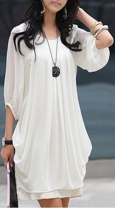 Adorable White Chiffon Dress Fashion