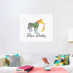 'Disco Donkey Fun and Music' Tapestry by Christiaan Van Den Berg Tapestry Design, Wall Tapestry, Textile Prints, Donkey, Sell Your Art, All Print, Vivid Colors, Cool Designs, My Arts